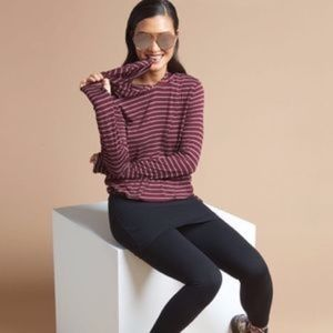 Cabi 3499 Time Off Hoodie Striped Top XS Burgundy
